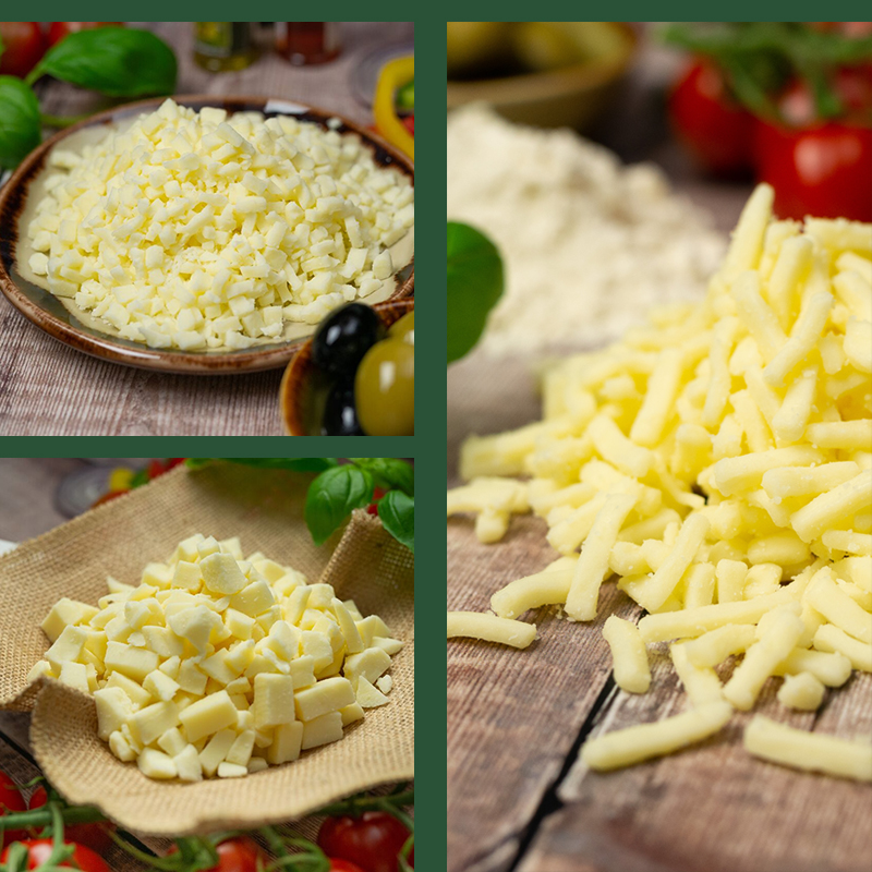 Collage of diced and Grated cheese from Spinneyfields