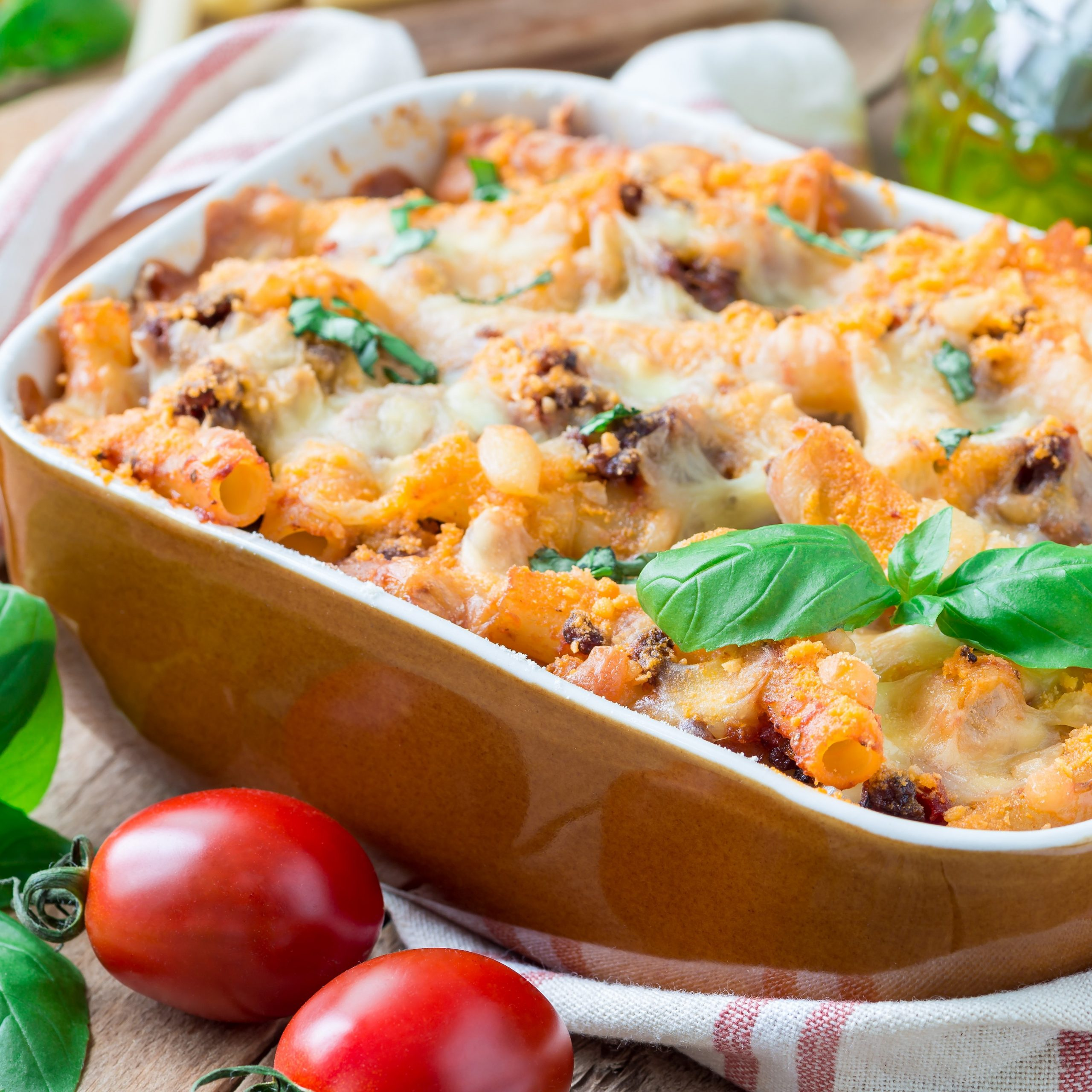 Bolognese Bake with our delicious Grated Mature White Cheddar and Mozzarella